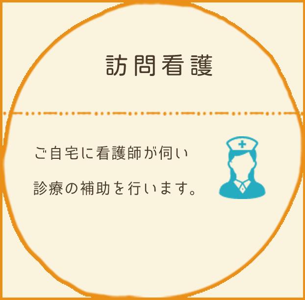 訪問看護:ご自宅に看護師が伺い診療の補助を行います。