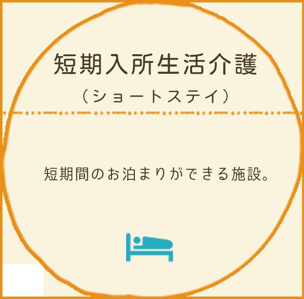 短期入所生活介護(ショートステイ):短期間のお泊まりができる施設。